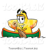 Illustration of a Cartoon Star Mascot Rowing a Boat by Toons4Biz