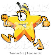 Illustration of a Cartoon Star Mascot Running by Toons4Biz