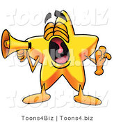 Illustration of a Cartoon Star Mascot Screaming into a Megaphone by Toons4Biz