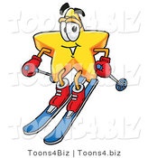 Illustration of a Cartoon Star Mascot Skiing Downhill by Toons4Biz