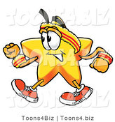 Illustration of a Cartoon Star Mascot Speed Walking or Jogging by Toons4Biz