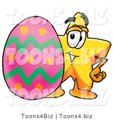 Illustration of a Cartoon Star Mascot Standing Beside an Easter Egg by Toons4Biz