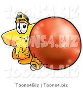 Illustration of a Cartoon Star Mascot Standing with a Christmas Bauble by Toons4Biz