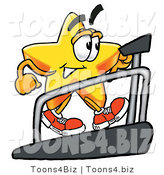 Illustration of a Cartoon Star Mascot Walking on a Treadmill in a Fitness Gym by Toons4Biz