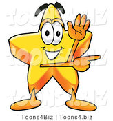 Illustration of a Cartoon Star Mascot Waving and Pointing by Toons4Biz