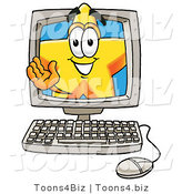 Illustration of a Cartoon Star Mascot Waving from Inside a Computer Screen by Toons4Biz
