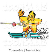 Illustration of a Cartoon Star Mascot Waving While Water Skiing by Toons4Biz