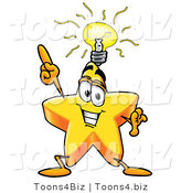 Illustration of a Cartoon Star Mascot with a Bright Idea by Toons4Biz