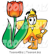 Illustration of a Cartoon Star Mascot with a Red Tulip Flower in the Spring by Toons4Biz