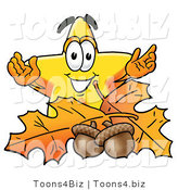 Illustration of a Cartoon Star Mascot with Autumn Leaves and Acorns in the Fall by Toons4Biz