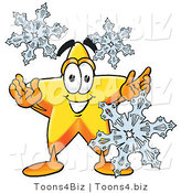 Illustration of a Cartoon Star Mascot with Three Snowflakes in Winter by Toons4Biz