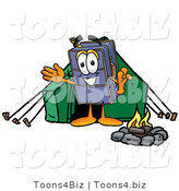 Illustration of a Cartoon Suitcase Mascot Camping with a Tent and Fire by Toons4Biz