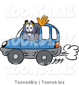 Illustration of a Cartoon Suitcase Mascot Driving a Blue Car and Waving by Toons4Biz