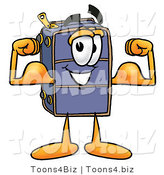 Illustration of a Cartoon Suitcase Mascot Flexing His Arm Muscles by Toons4Biz