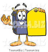 Illustration of a Cartoon Suitcase Mascot Holding a Yellow Sales Price Tag by Toons4Biz