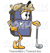 Illustration of a Cartoon Suitcase Mascot Leaning on a Golf Club While Golfing by Toons4Biz