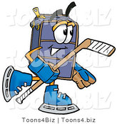 Illustration of a Cartoon Suitcase Mascot Playing Ice Hockey by Toons4Biz
