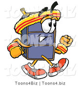 Illustration of a Cartoon Suitcase Mascot Speed Walking or Jogging by Toons4Biz