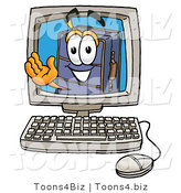Illustration of a Cartoon Suitcase Mascot Waving from Inside a Computer Screen by Toons4Biz