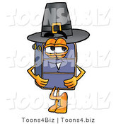 Illustration of a Cartoon Suitcase Mascot Wearing a Pilgrim Hat on Thanksgiving by Toons4Biz