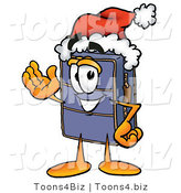 Illustration of a Cartoon Suitcase Mascot Wearing a Santa Hat and Waving by Toons4Biz