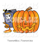 Illustration of a Cartoon Suitcase Mascot with a Carved Halloween Pumpkin by Toons4Biz