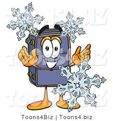 Illustration of a Cartoon Suitcase Mascot with Three Snowflakes in Winter by Toons4Biz