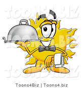 Illustration of a Cartoon Sun Mascot Dressed As a Waiter and Holding a Serving Platter by Toons4Biz