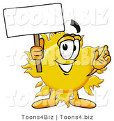 Illustration of a Cartoon Sun Mascot Holding a Blank Sign by Toons4Biz