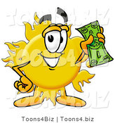 Illustration of a Cartoon Sun Mascot Holding a Dollar Bill by Toons4Biz