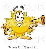 Illustration of a Cartoon Sun Mascot Holding a Megaphone by Toons4Biz
