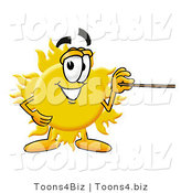 Illustration of a Cartoon Sun Mascot Holding a Pointer Stick by Toons4Biz