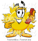 Illustration of a Cartoon Sun Mascot Holding a Telephone by Toons4Biz