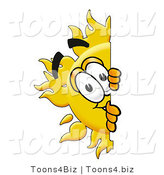 Illustration of a Cartoon Sun Mascot Peeking Around a Corner by Toons4Biz