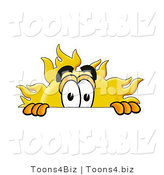 Illustration of a Cartoon Sun Mascot Peeking over a Surface by Toons4Biz