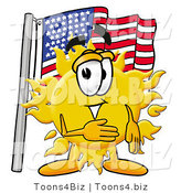 Illustration of a Cartoon Sun Mascot Pledging Allegiance to an American Flag by Toons4Biz