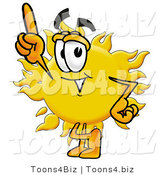 Illustration of a Cartoon Sun Mascot Pointing Upwards by Toons4Biz