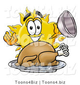 Illustration of a Cartoon Sun Mascot Serving a Thanksgiving Turkey on a Platter by Toons4Biz