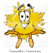 Illustration of a Cartoon Sun Mascot Sitting by Toons4Biz