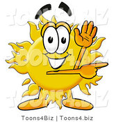 Illustration of a Cartoon Sun Mascot Waving and Pointing by Toons4Biz