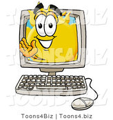 Illustration of a Cartoon Sun Mascot Waving from Inside a Computer Screen by Toons4Biz