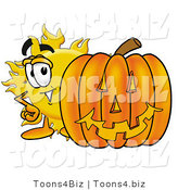 Illustration of a Cartoon Sun Mascot with a Carved Halloween Pumpkin by Toons4Biz