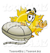 Illustration of a Cartoon Sun Mascot with a Computer Mouse by Toons4Biz