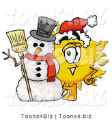 Illustration of a Cartoon Sun Mascot with a Snowman on Christmas by Toons4Biz
