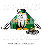 Illustration of a Cartoon Tooth Mascot Camping with a Tent and Fire by Toons4Biz