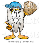 Illustration of a Cartoon Tooth Mascot Catching a Baseball with a Glove by Toons4Biz