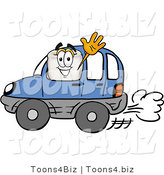 Illustration of a Cartoon Tooth Mascot Driving a Blue Car and Waving by Toons4Biz