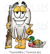 Illustration of a Cartoon Tooth Mascot Duck Hunting, Standing with a Rifle and Duck by Toons4Biz