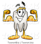 Illustration of a Cartoon Tooth Mascot Flexing His Arm Muscles by Toons4Biz