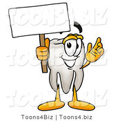 Illustration of a Cartoon Tooth Mascot Holding a Blank Sign by Toons4Biz